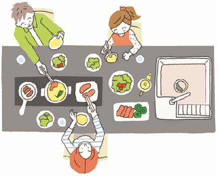 キッチンを囲んで夕食